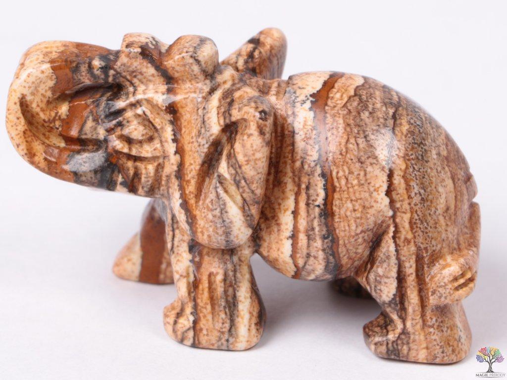 Slon Jaspis obrázkový 50 x 35 mm - Slon z přírodního kamene #02  + až 10% sleva po registraci