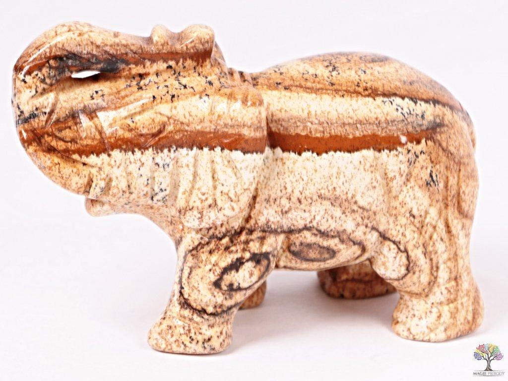 Slon Jaspis obrázkový 80 x 50 mm - Slon z přírodního kamene #03  + až 10% sleva po registraci