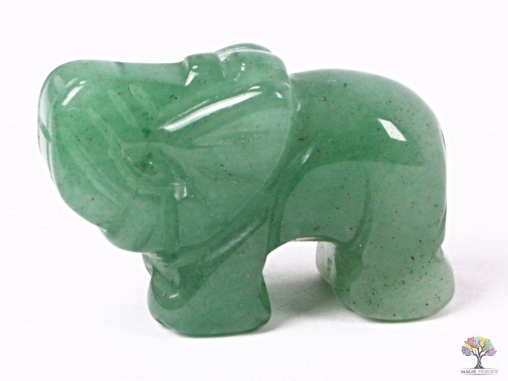 Slon Avanturin zelený 30 x 20 mm - Slon z přírodního kamene #07  + až 10% sleva po registraci