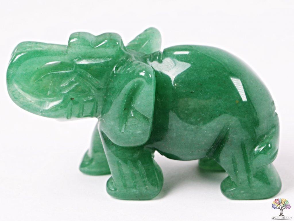 Slon Avanturin zelený 50 x 35 mm - Slon z přírodního kamene #08  + sleva 5% po registraci na většinu zboží + dárek k objednávce