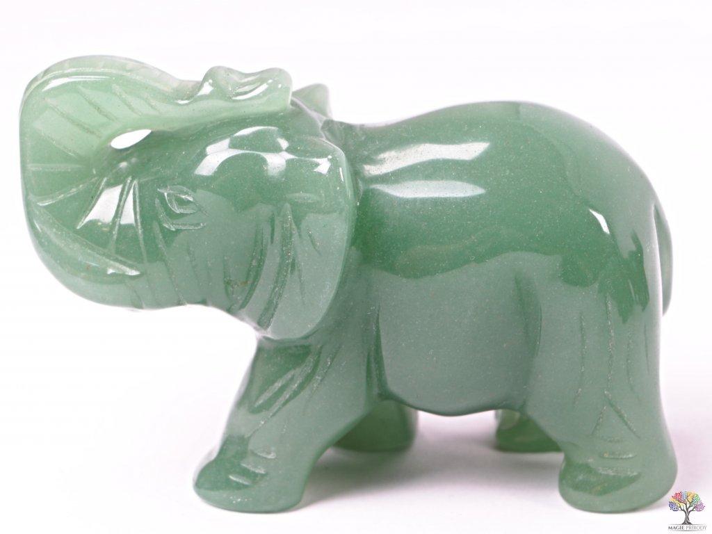 Slon Avanturin zelený 80 x 50 mm - Slon z přírodního kamene #09  + sleva 5% po registraci na většinu zboží + dárek k objednávce