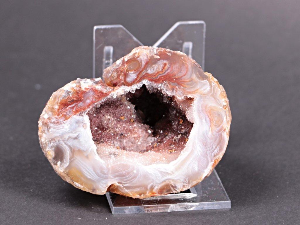 Achát peříčkový 7 cm - geoda - Top kvalita - #117