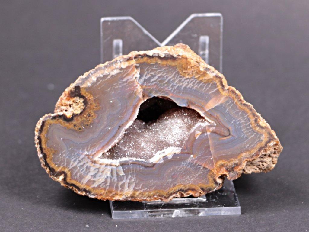 Achát peříčkový 8 cm - geoda - Top kvalita - #118