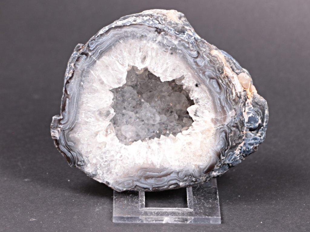 Achát peříčkový 8 cm - geoda - Top kvalita - #177