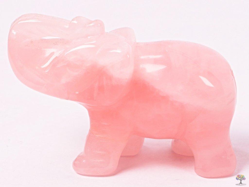 Slon Růženín 80 x 50 mm - Slon z přírodního kamene #12  + až 10% sleva po registraci