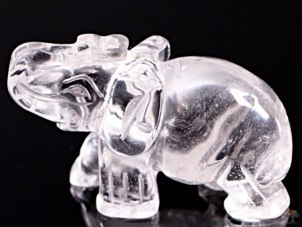 Slon Křišťál 50 x 35 mm - Slon z přírodního kamene #14  + až 10% sleva po registraci