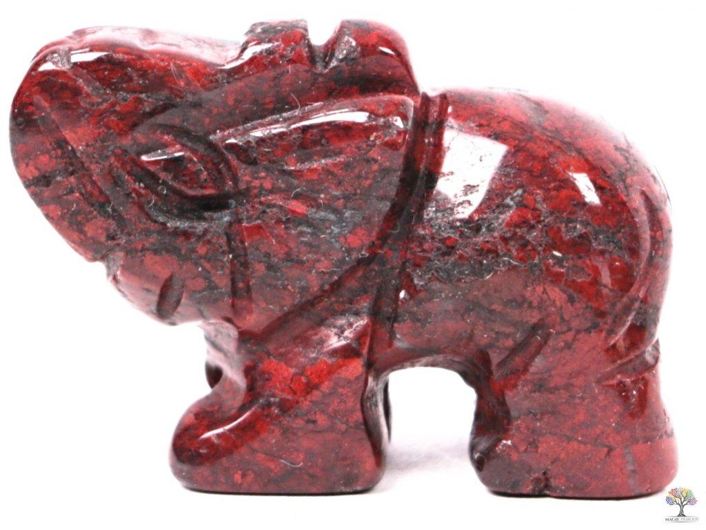 Slon Jaspis brekcie 30 x 20 mm - Slon z přírodního kamene #28  + až 10% sleva po registraci