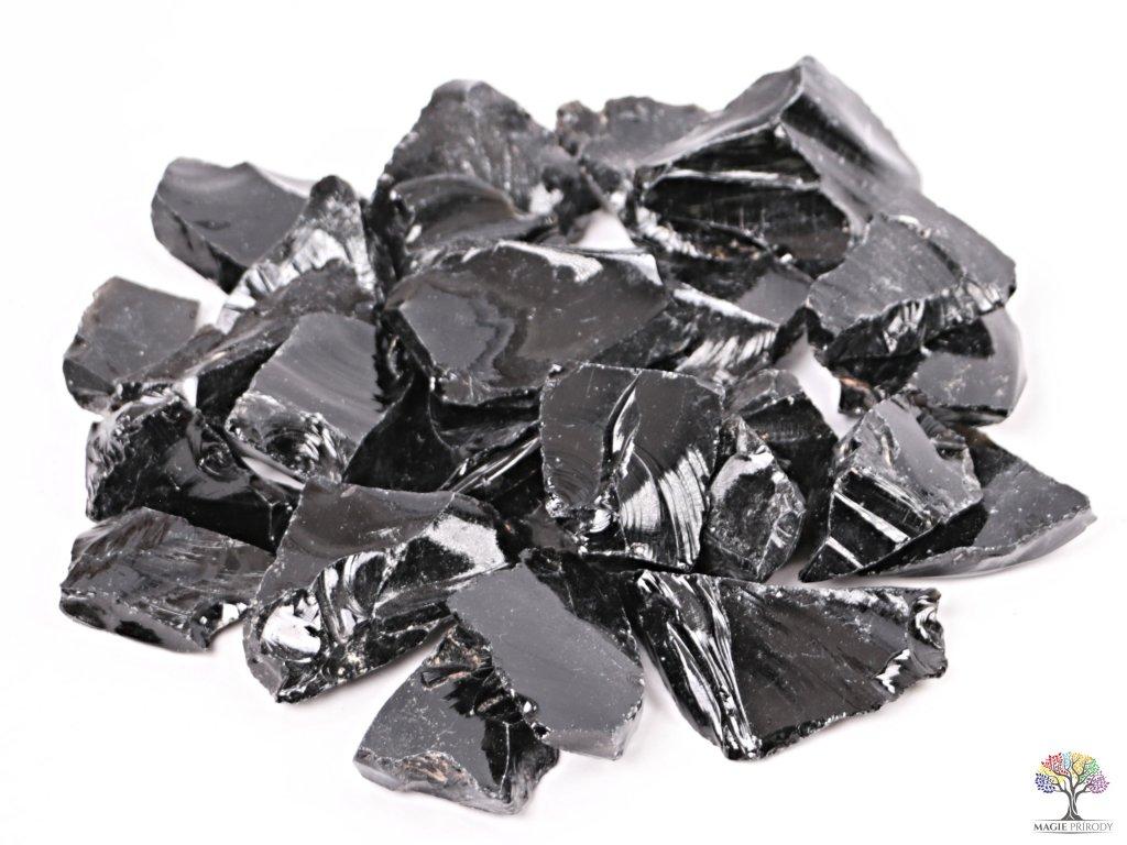 Obsidián Černý surový 2 - 7 cm - TOP kvalita 1 kg
