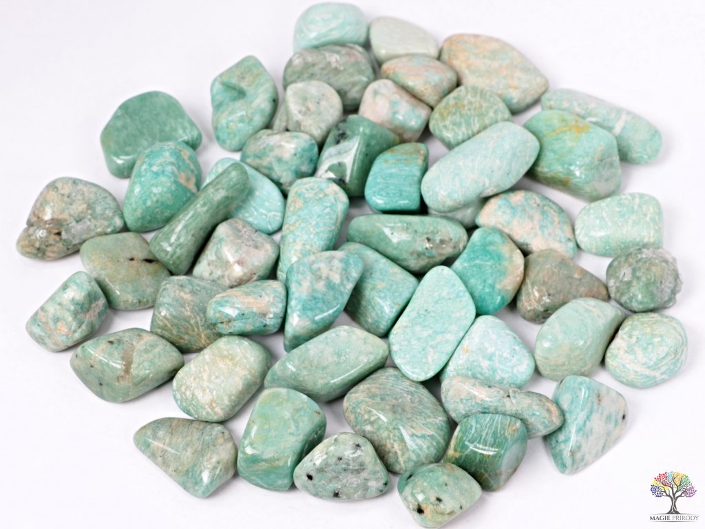 Tromlované kamínky Amazonit XL - kameny o velikosti 30 - 50 mm - 1 kg - Brazílie  + až 10% sleva po registraci