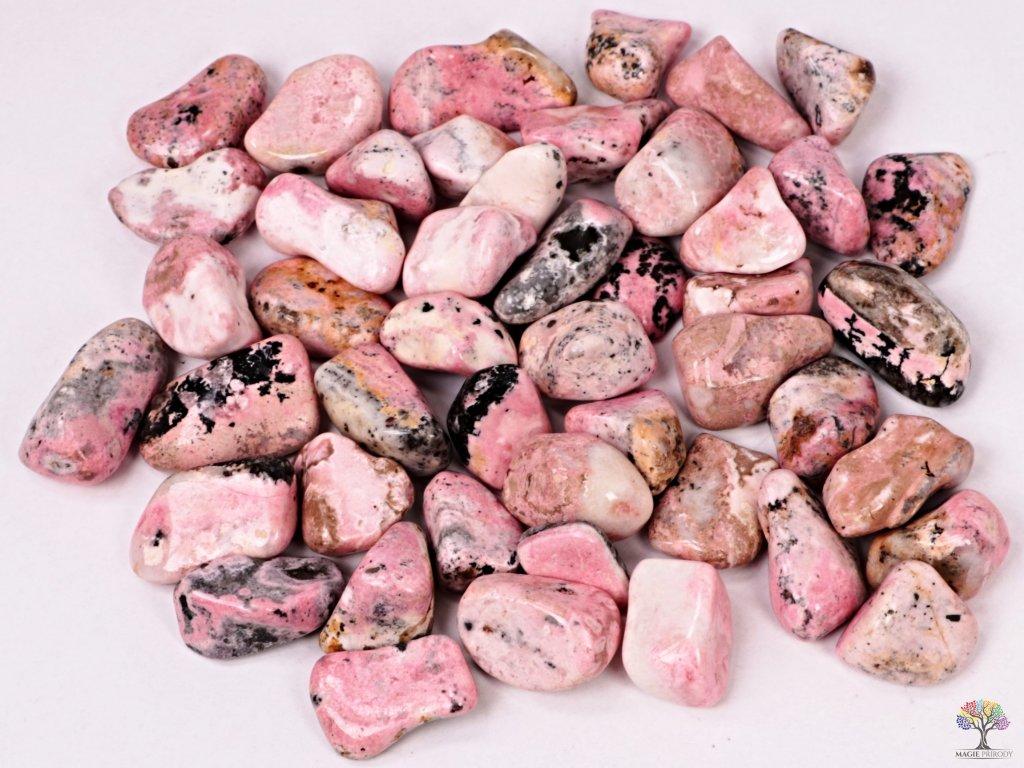 Tromlované kamínky Rodonit L - kameny o velikosti 25 - 40 mm - 100g - Peru