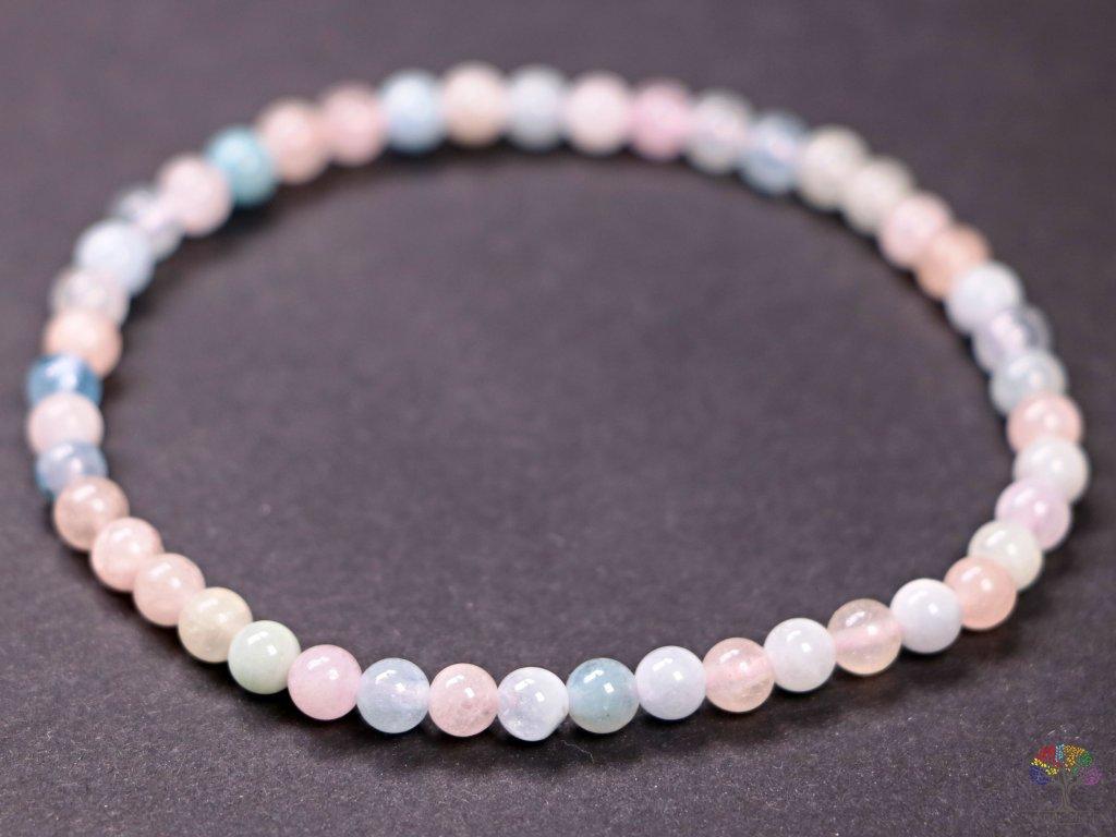 Náramek Morganit - 4 mm kuličky #88 - Beryl růžový smaragd - z přírodních kamenů  + sleva 5% po registraci na většinu zboží + dárek k objednávce