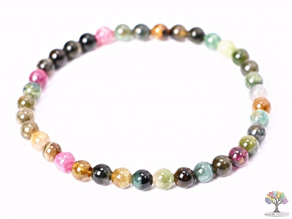 Náramek Turmalín meloun - barevný - 5 mm #106 - z přírodních kamenů  + sleva 5% po registraci na většinu zboží + dárek k objednávce