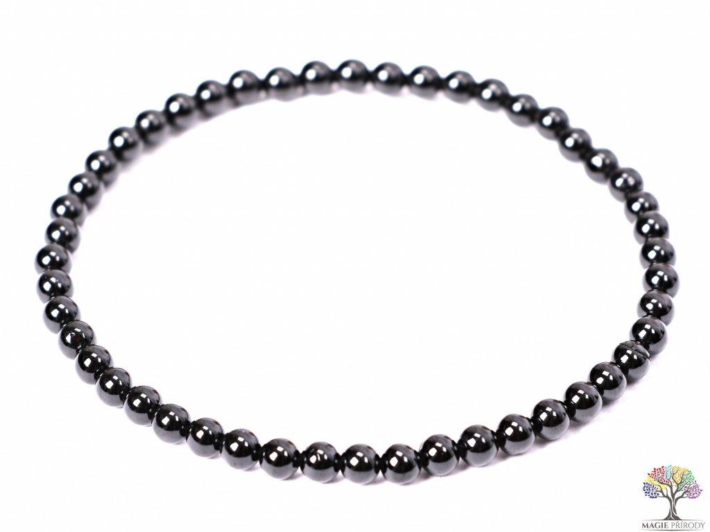Náramek Spinel černý - 4 mm kuličky #233  + sleva 5% po registraci + dárek k objednávce