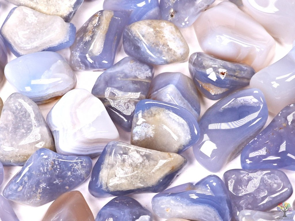 Tromlované kamínky Chalcedon modrý XL o velikosti 30 - 45 mm - 500g - Brazílie  + sleva 5% po registraci na většinu zboží + dárek k objednávce