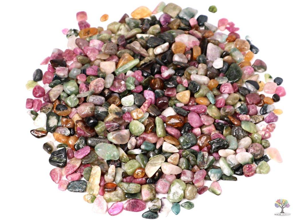 Tromlované kamínky Turmalín barevný XS o velikosti 8 - 20 mm - 100g - Brazílie  + až 10% sleva po registraci
