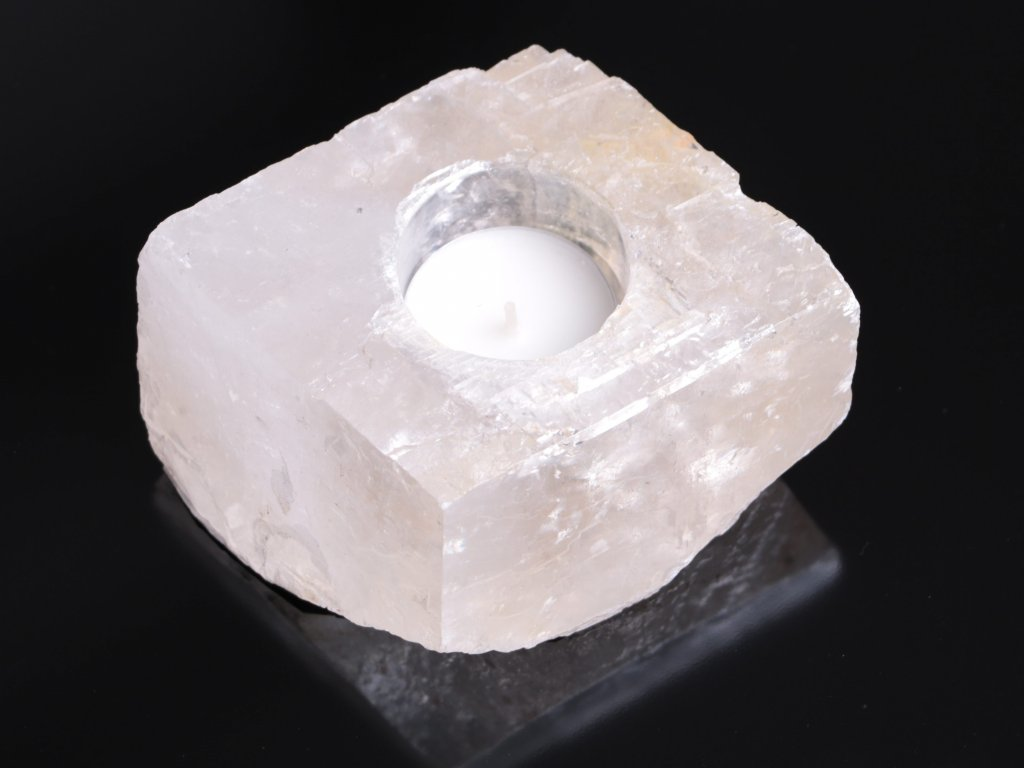 Svícen na svíčku - Kalcit přírodní broušený - 0.710 kg #01