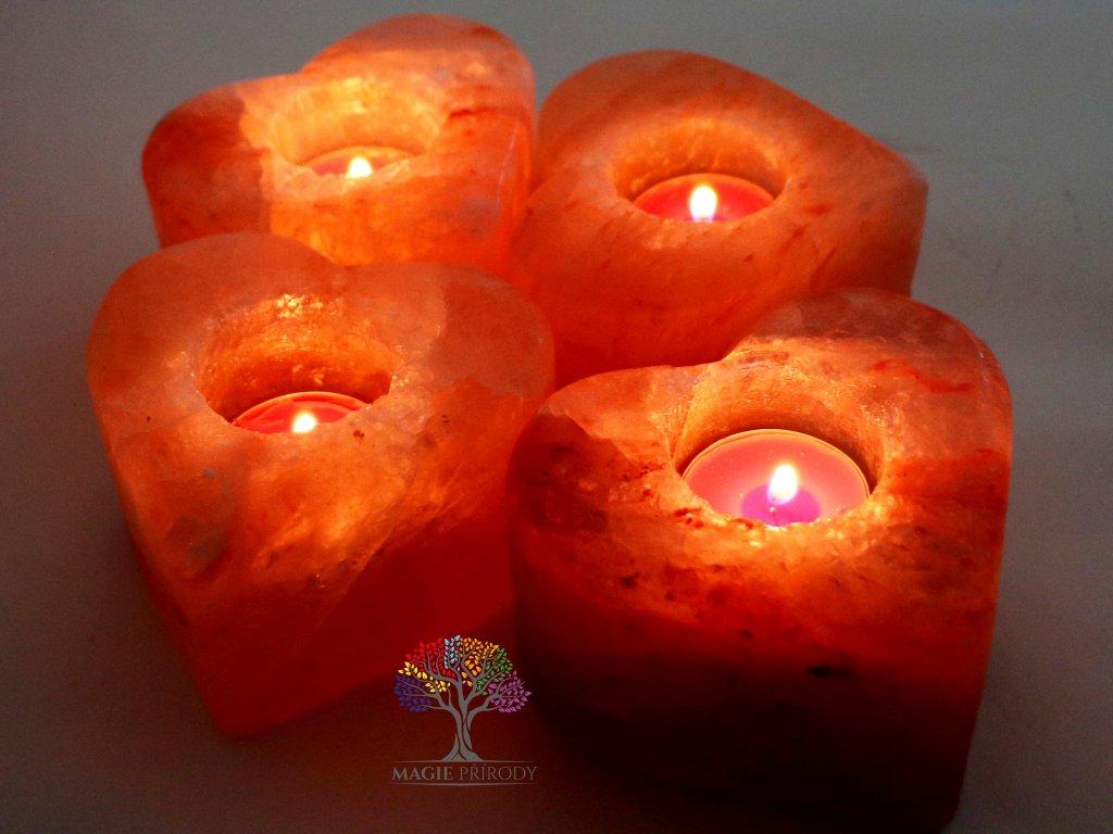 Solný svícen na svíčku Srdce - přírodní leštěný - 0.9 - 1.2 kg - solná lampa