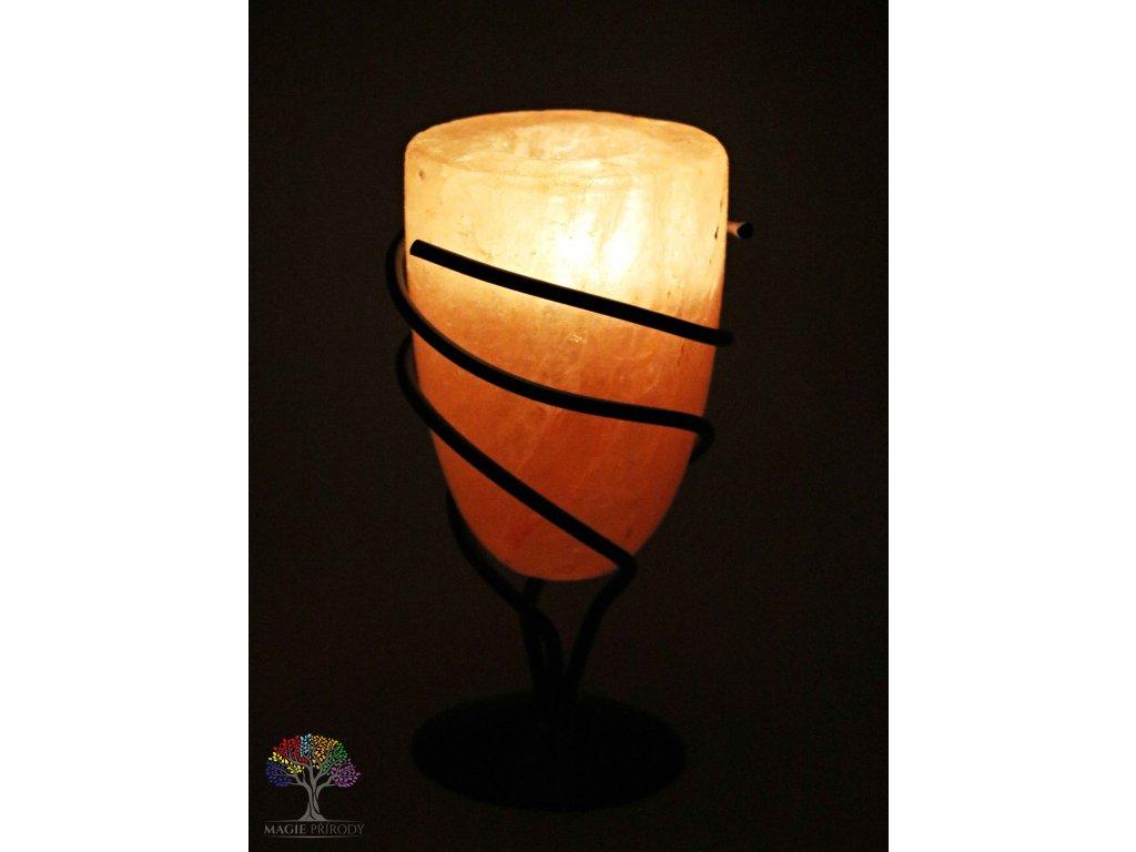 Solný svícen na svíčku Kalich - přírodní leštěný - 1.5 kg - solná lampa