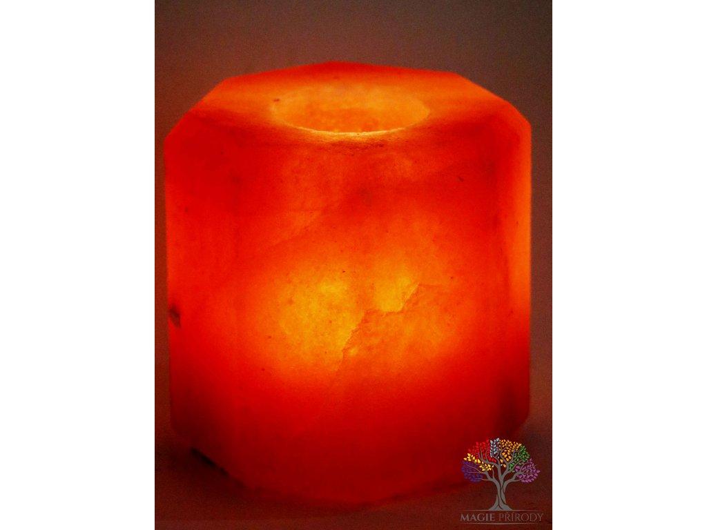 Solný svícen na svíčku osmihran - přírodní leštěný - 0.9 - 1.3 kg - solná lampa