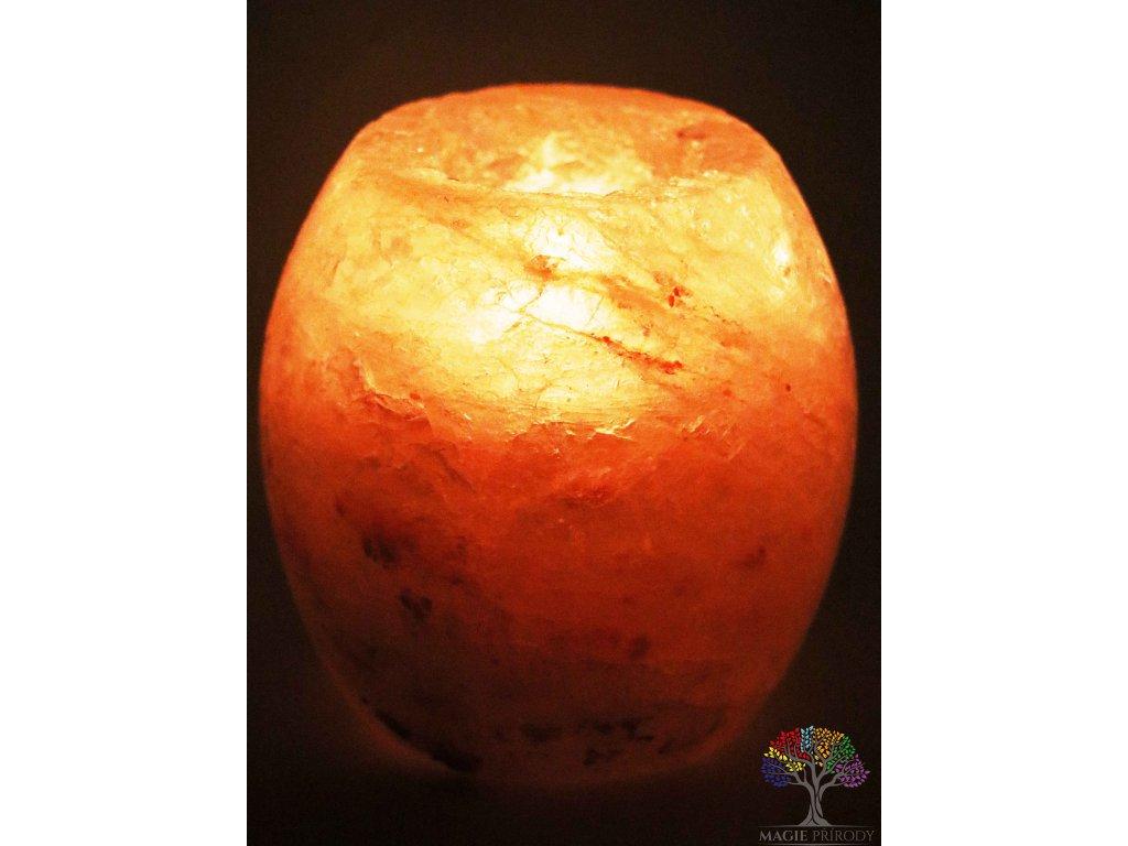 Solný svícen na svíčku soudek - přírodní leštěný - 0.9 - 1.3 kg - solná lampa