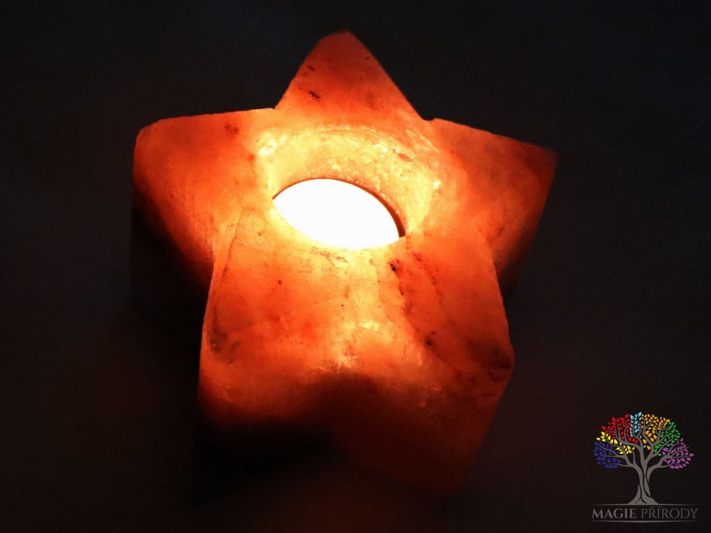 Solný svícen na svíčku hvězda 1 - 1.5 kg - solná lampa