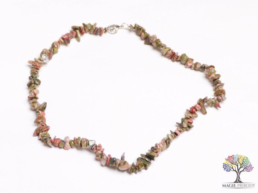 Náhrdelník sekaný - Unakit - tromlovaný - 49