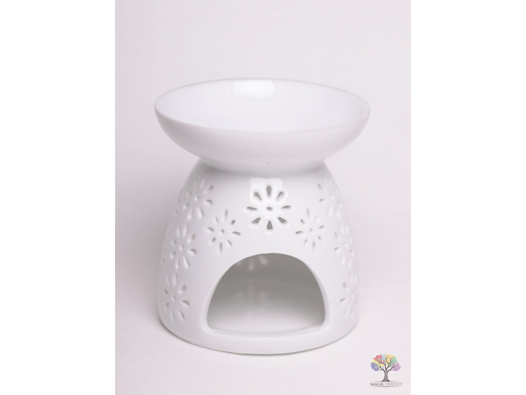 Aroma lampa keramická bílá lesklá 02