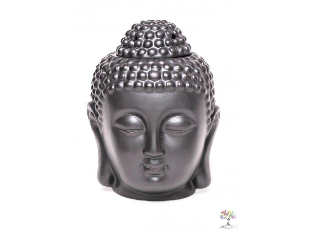 Aroma lampa Buddha - keramická černá matná 05