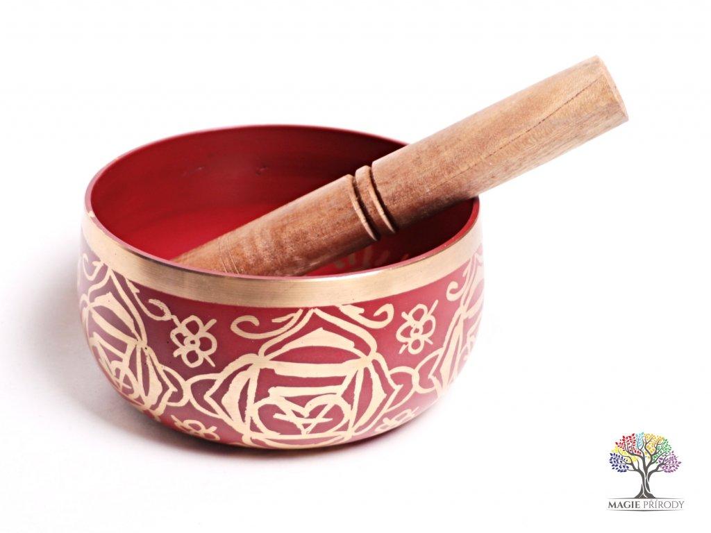 Tibetská miska 1. čakra červená - zpívající mísa 12 cm - 680 g s paličkou #06  + až 10% sleva po registraci
