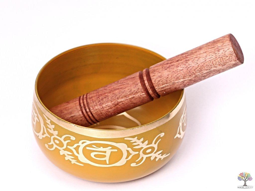 Tibetská miska 2. čakra oranžová - zpívající mísa 12 cm - 680 g s paličkou #07