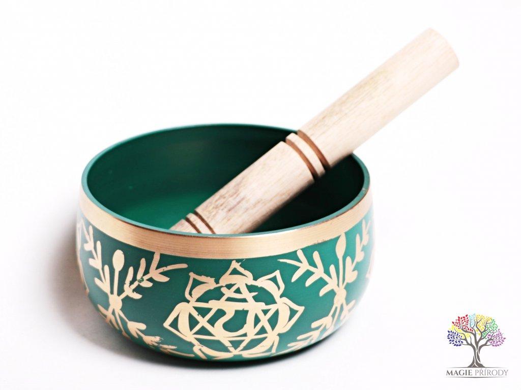 Tibetská miska 4. čakra zelená - zpívající mísa 12 cm - 680 g s paličkou #09