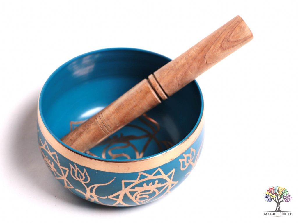 Tibetská miska 5. čakra světle modrá - zpívající mísa 12 cm - 680 g s paličkou #10