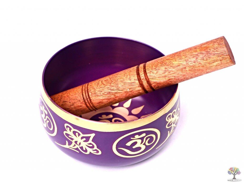 Tibetská miska 7. čakra fialová - zpívající mísa 12 cm - 680 g s paličkou #12