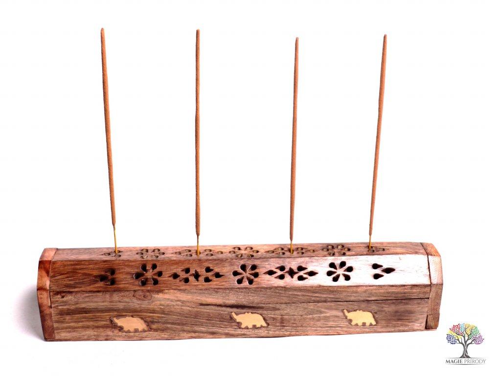 Dřevěná truhlička a stojánek na vonné tyčinky - františky #01