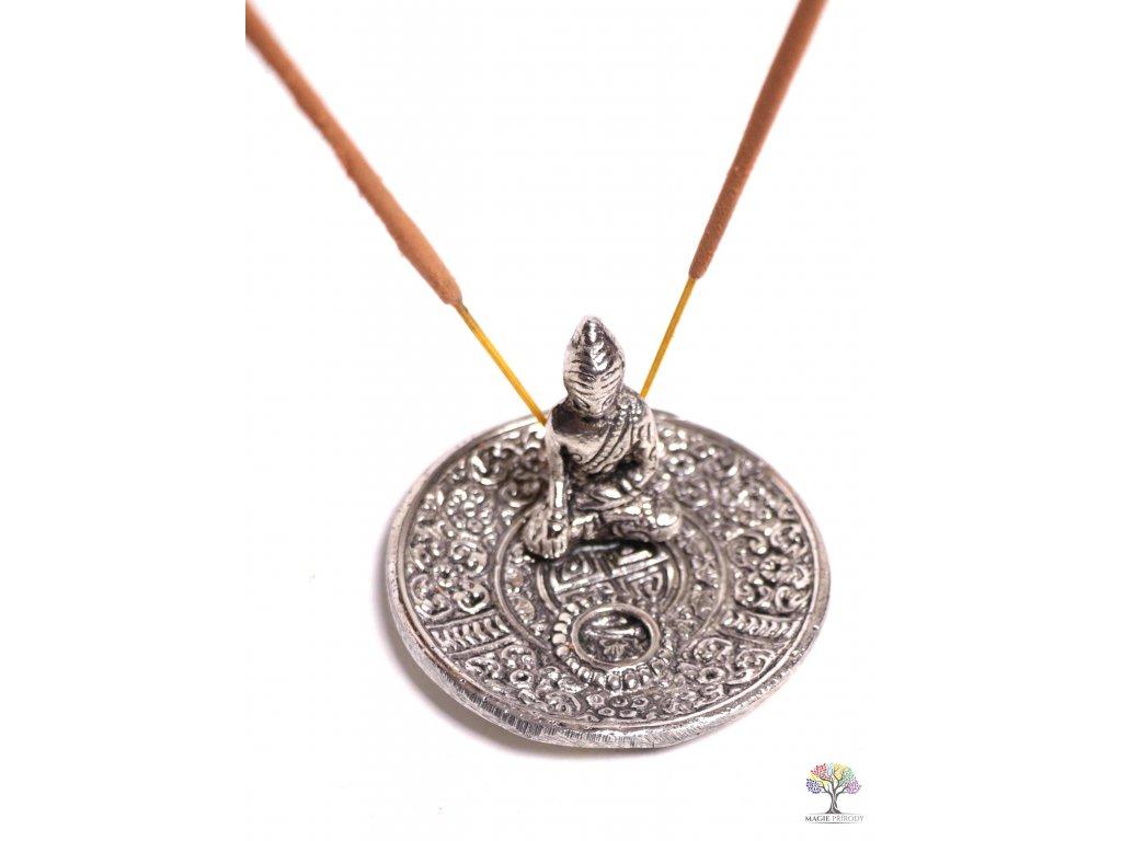 Stojánek na vonné tyčinky a františky - kovový Buddha 7 cm #16