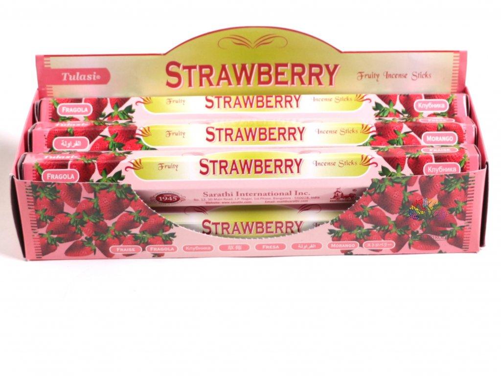 Vonné tyčinky Tulasi Strawberry - vůně Jahoda - 20 ks - #19  + sleva 5% po registraci na většinu zboží + dárek k objednávce
