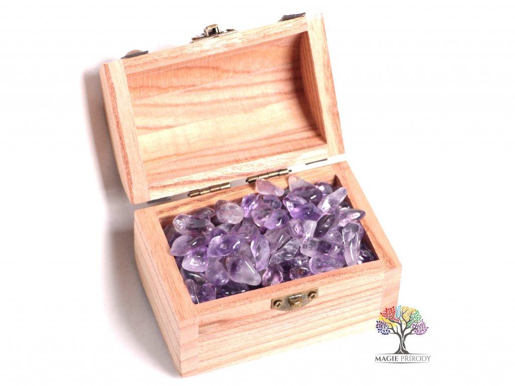 Magická truhlička s kamínky Ametystu - velikost S (15 - 25) mm - Brazílie  + až 10% sleva po registraci