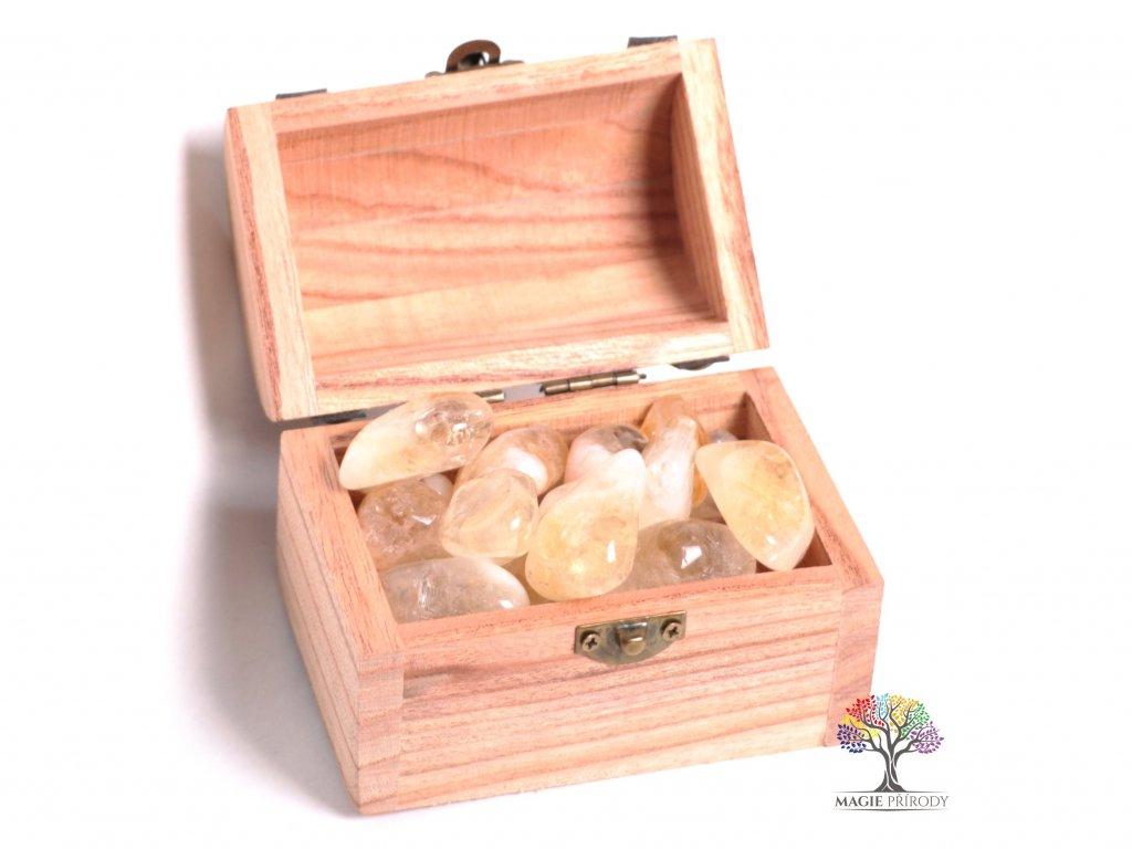 Magická truhlička s kamínky Citrínu - velikost L (30 - 45) mm - Brazílie  + až 10% sleva po registraci