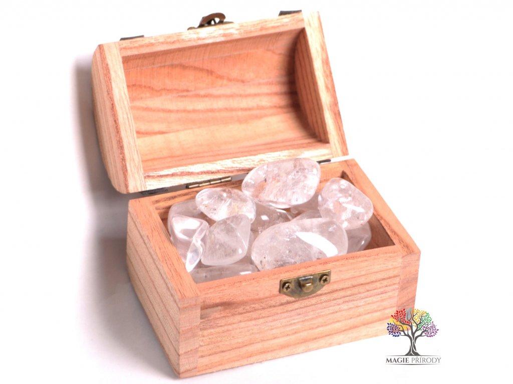 Magická truhlička s kamínky Křišťálu - velikost L (30 - 45) mm - Brazílie