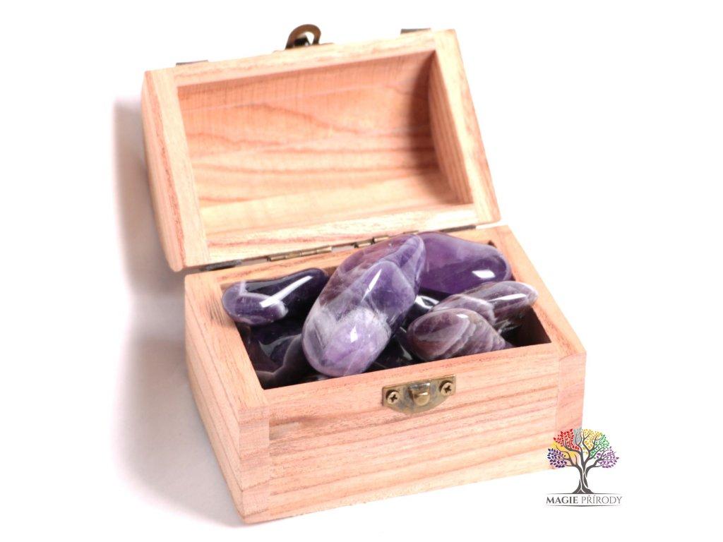 Magická truhlička s kamínky Ametystu - velikost L (30 - 45) mm - Zambie