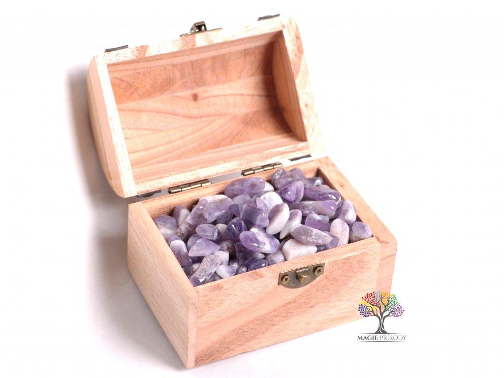 Magická truhlička s kamínky Ametystu - velikost S (15 - 25) mm - Malawi