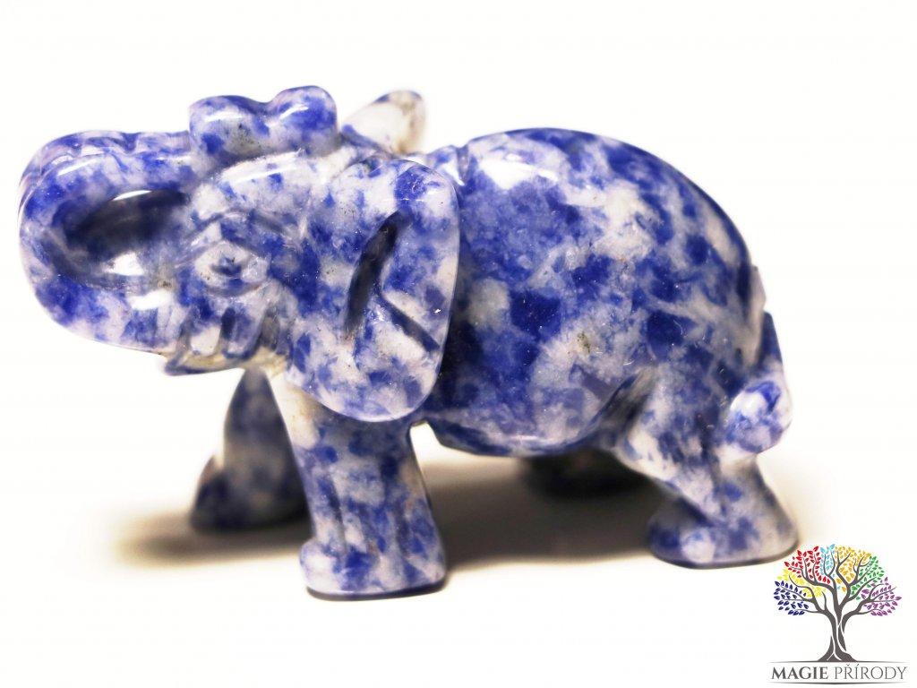 Slon Sodalit 30x50 mm - Slon z přírodního kamene #14