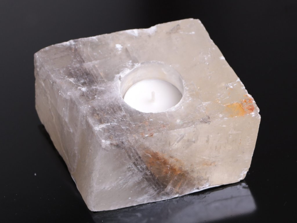 Svícen na svíčku - Kalcit přírodní broušený - 1.240 kg #03