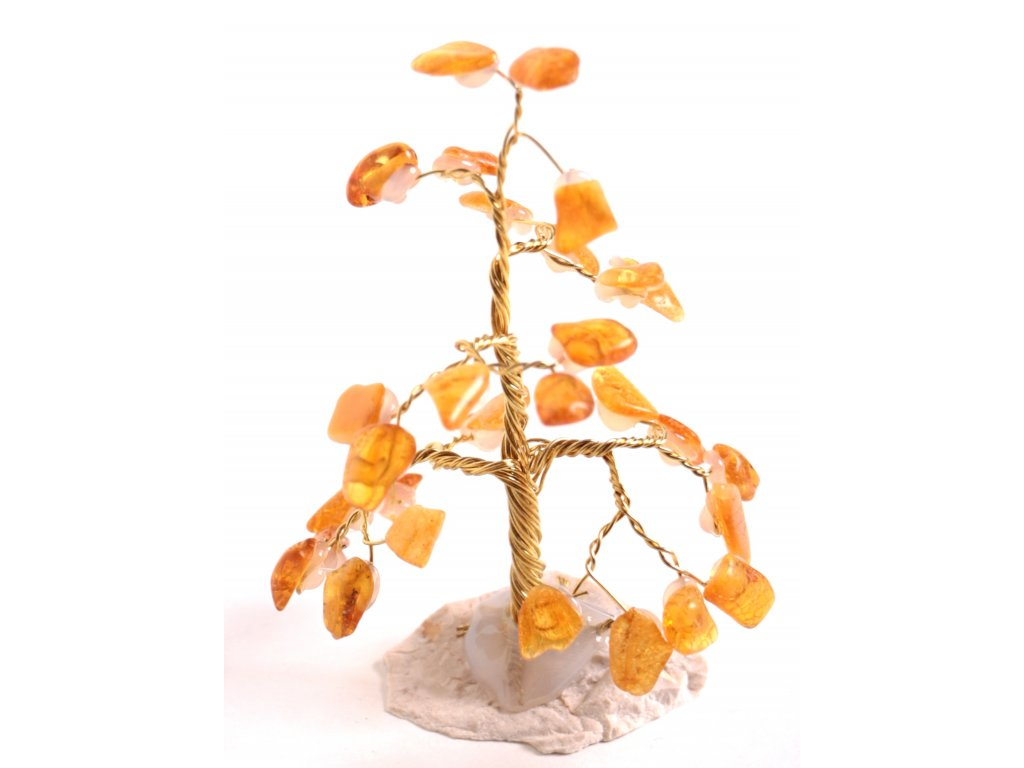 Jantarový stromeček štěstí 8 cm #23  + až 10% sleva po registraci