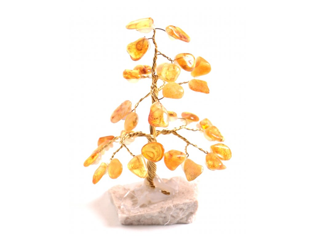Jantarový stromeček štěstí 8 cm #25