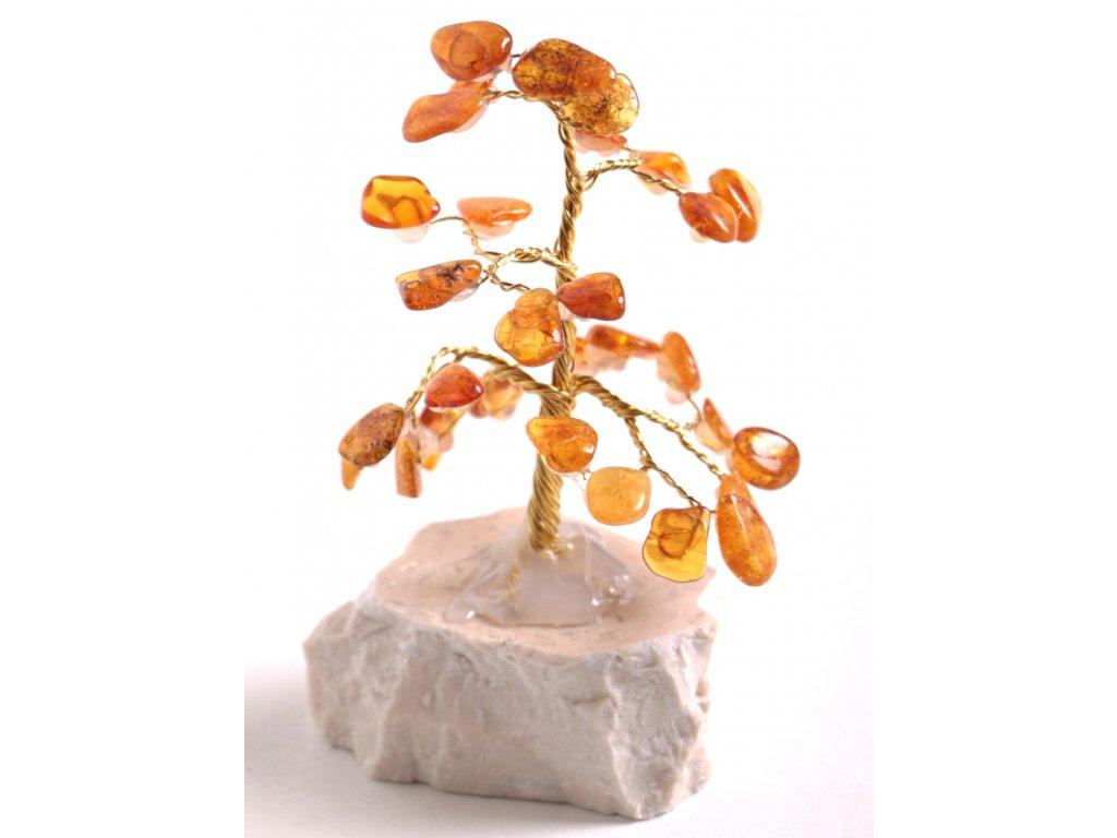 Jantarový stromeček štěstí 9 cm #34
