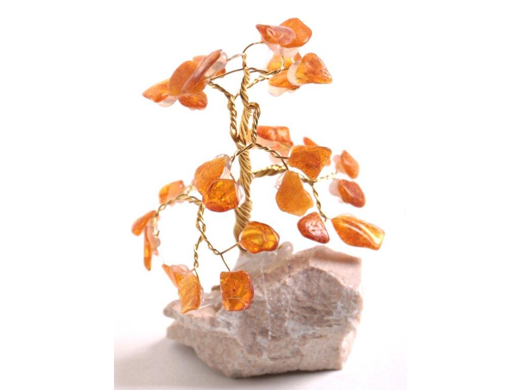 Jantarový stromeček štěstí 9 cm #38