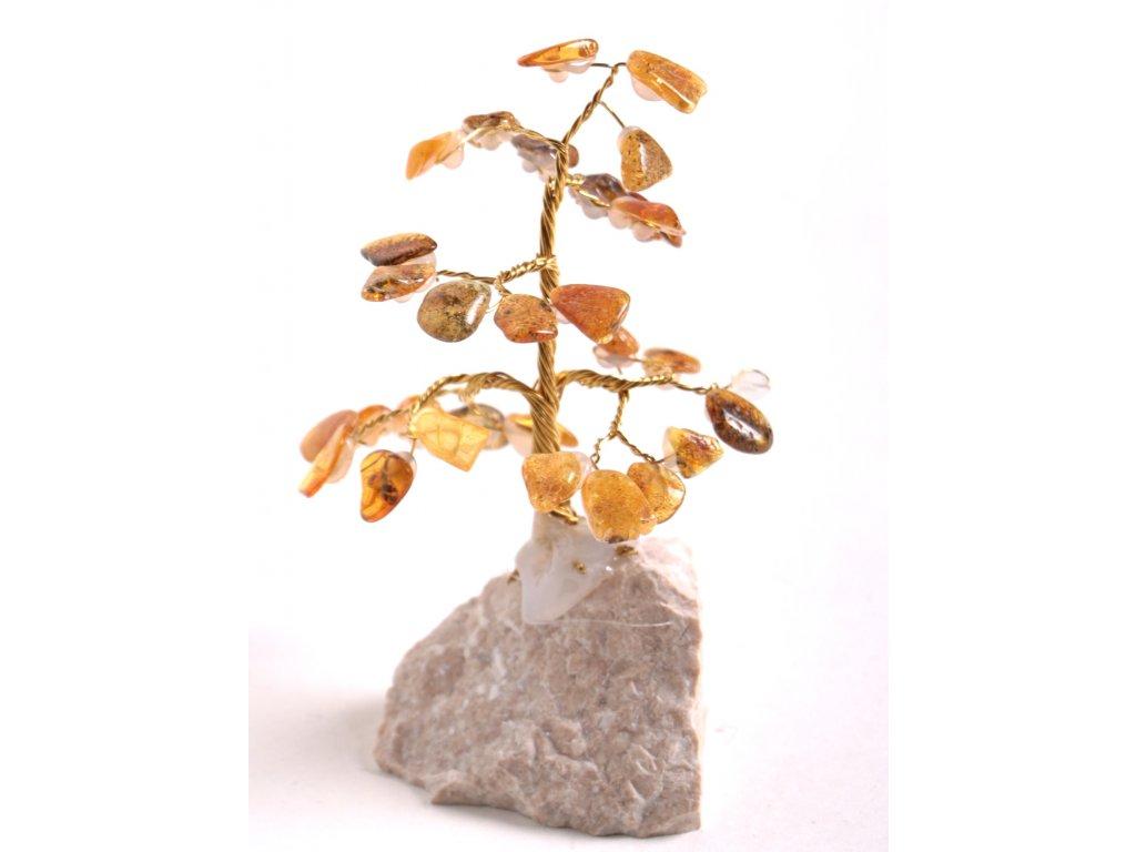 Jantarový stromeček štěstí 9 cm #40  + až 10% sleva po registraci