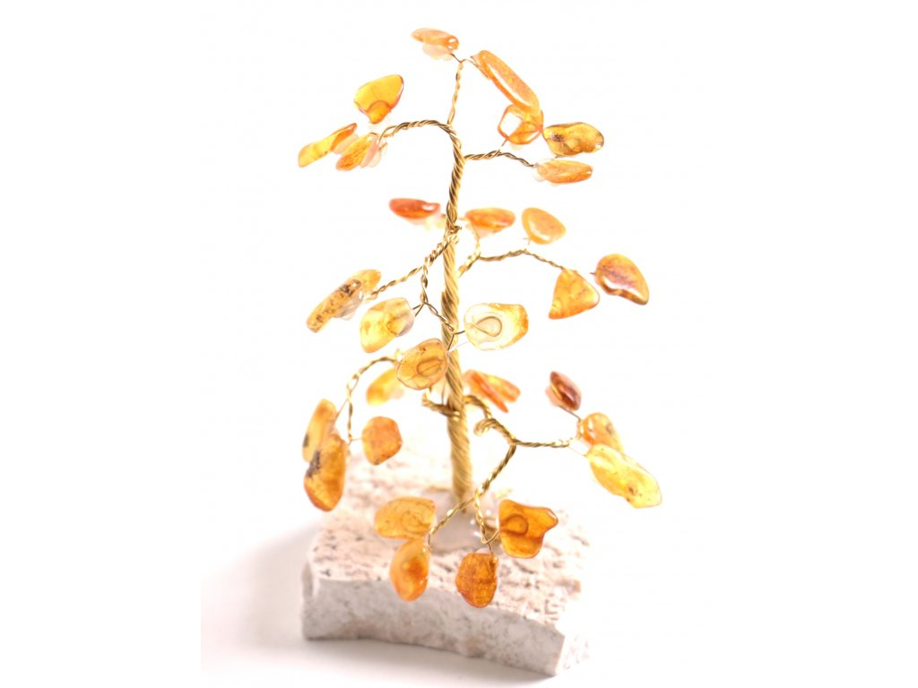Jantarový stromeček štěstí 11 cm #44  + sleva 5% po registraci na většinu zboží + dárek k objednávce