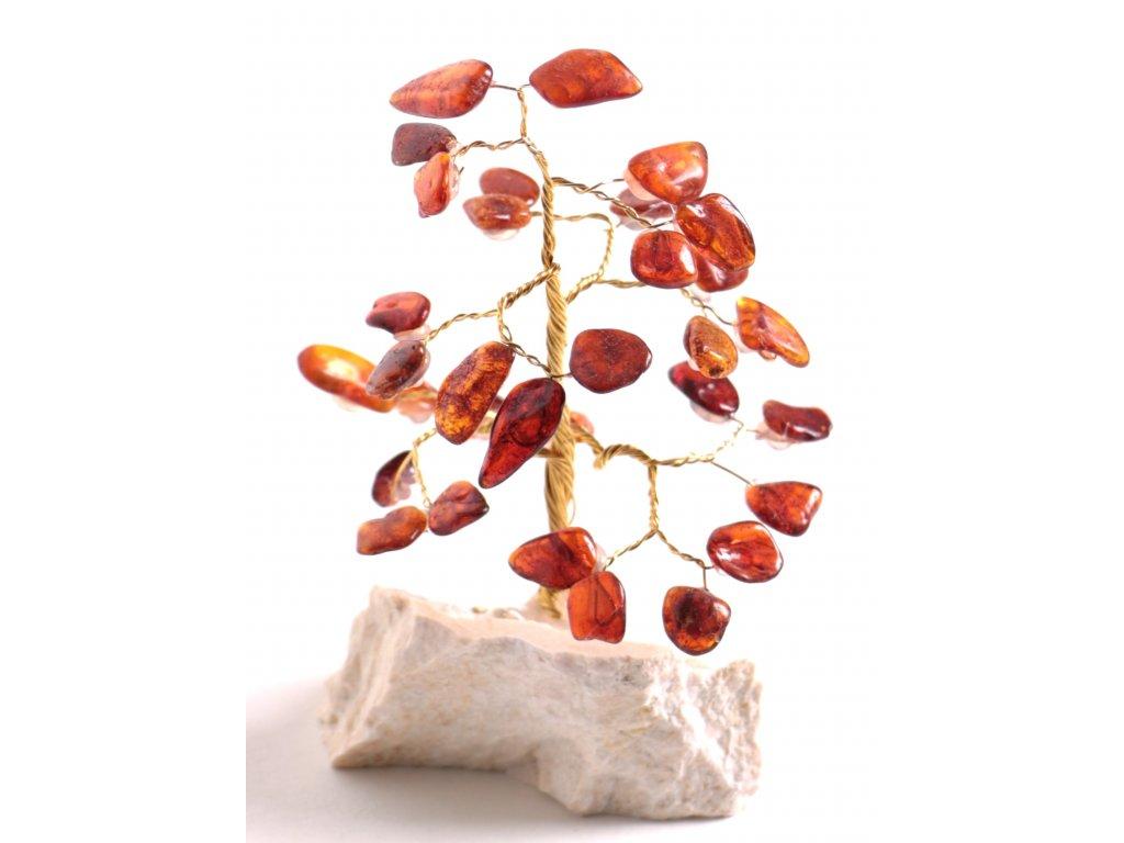 Jantarový stromeček štěstí 13 cm #48